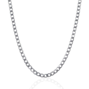 Rhodium Plated 4.7mm Sterling Silver Curb Style Chain