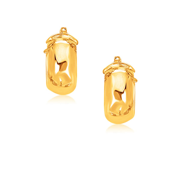14k Yellow Gold Wide Small Hoop Earrings with Snap Lock