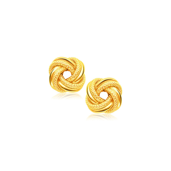 a13a49b22 14k Yellow Gold Intertwined Love Knot Stud Earrings