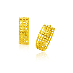 14k Yellow Gold Hinged Mesh Snuggable Earrings