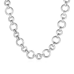 Polished Round Link Necklace in Sterling Silver