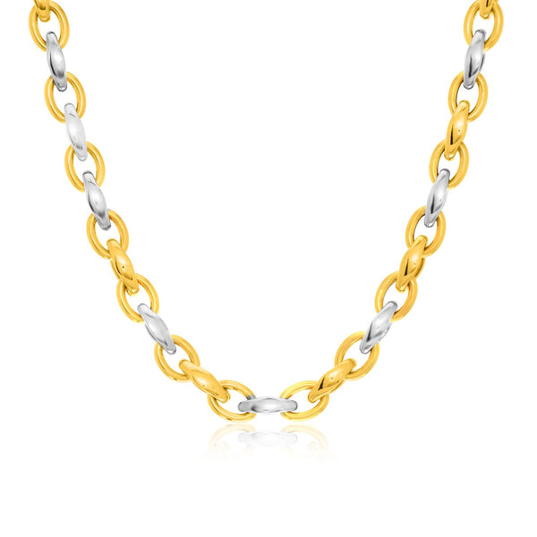 14k Two-Tone Gold Oval Graduated Style Link Necklace