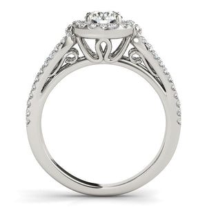 14k White Gold Diamond Engagement Ring with Teardrop Split Shank (7/8 cttw)