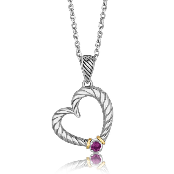 18k Yellow Gold and Sterling Silver Heart Drop Pendant with Amethyst Ornament