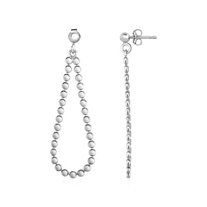 Polished Teardrop Ball Chain Earrings in Sterling Silver