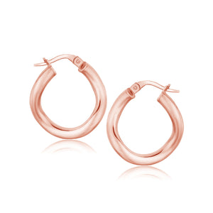 14k Rose Gold Italian Twist Hoop Earrings (5/8 inch Diameter)