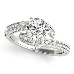 14k White Gold Round Diamond Bypass Style Engagement Ring (1 1/2 cttw)