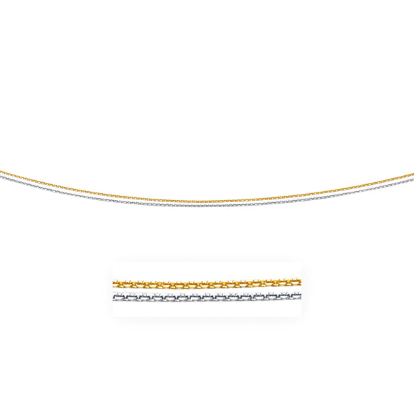 14k Two-Tone Double Strand Cable Pendant Chain 1.1mm
