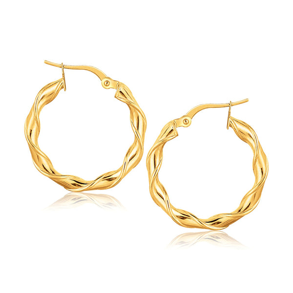 14k Yellow Gold Hoop Earrings (1 inch)