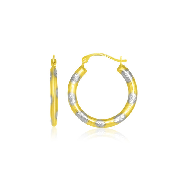 10k Two-Tone Gold Textured Diamond Cut Hoop Style Earrings