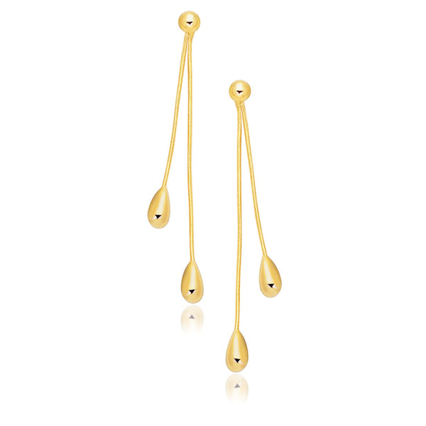 14k Yellow Gold Double Drop Long Earrings