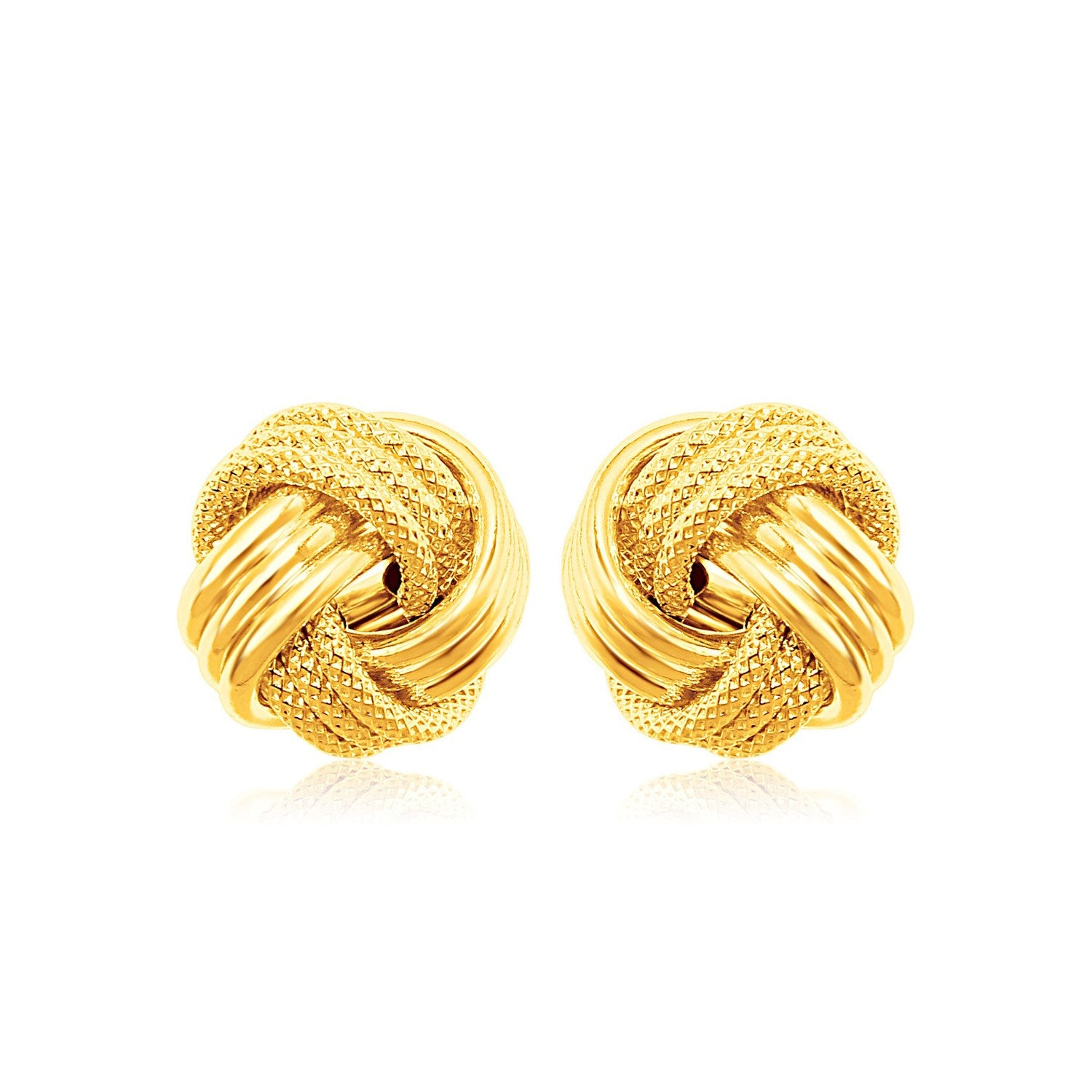3a66eb878 14k Yellow Gold Love Knot with Ridge Texture Earrings - Unity BAMN
