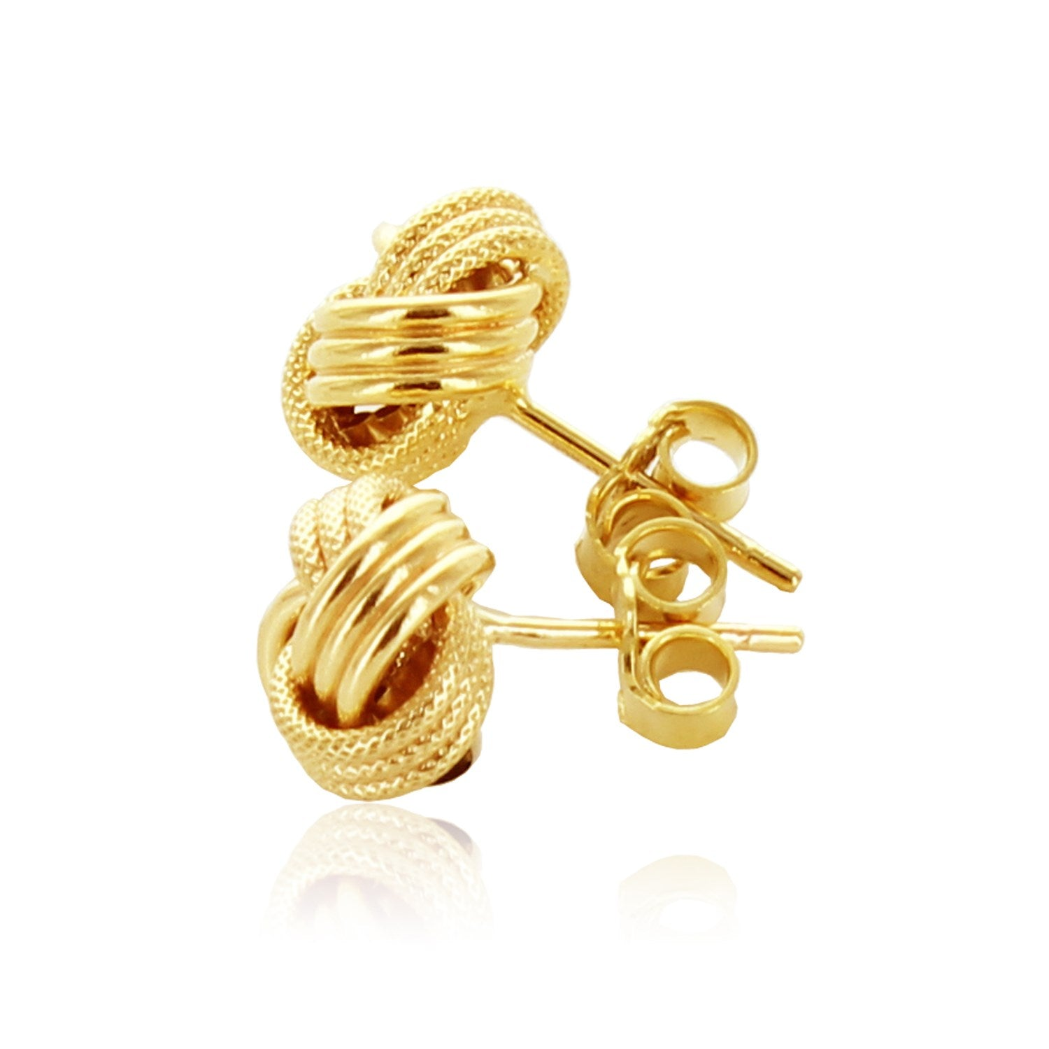 f363d0badd9f 14k Yellow Gold Love Knot with Ridge Texture Earrings
