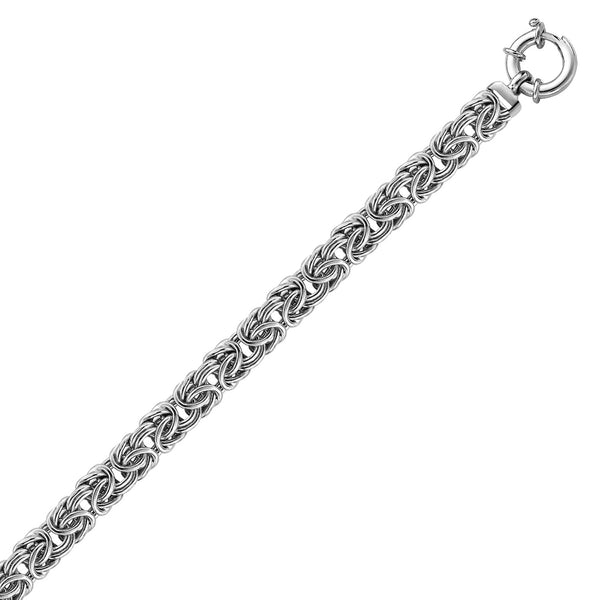Sterling Silver Rhodium Plated Byzantine Style Chain Bracelet