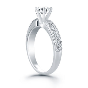 14k White Gold Triple Row Pave Diamond Engagement Ring