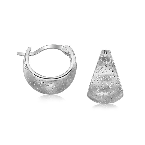 Sterling Silver Textured Domed Half Hoop Earrings with Rhodium Plating