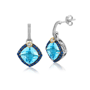 18k Yellow Gold and Sterling Silver Blue Tone Multi Gem Earrings (.43 cttw)