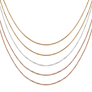 Multi Tone Sterling Silver 5-Strand Box Chain Necklace