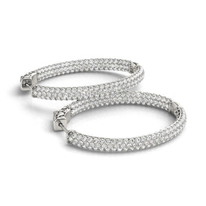 14k White Gold Diamond Hoop Double Sided Three Row Earrings (2 cttw)