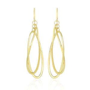 14k Yellow Gold Tube Style Entwined Open Oval Drop Earrings