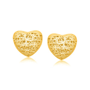 14k Yellow Gold Puffed Heart Motif Lace Stud Earrings