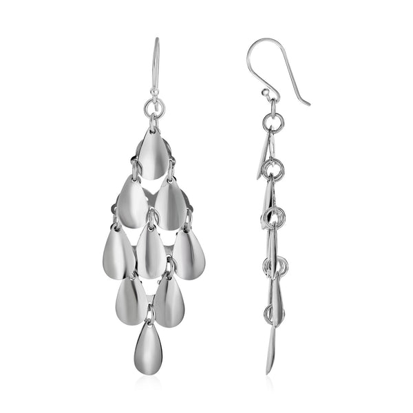Polished Drop Earrings with Polished Teardrops in Sterling Silver