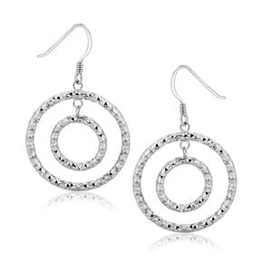 Sterling Silver Textured Concentric Circle Design Drop Earrings