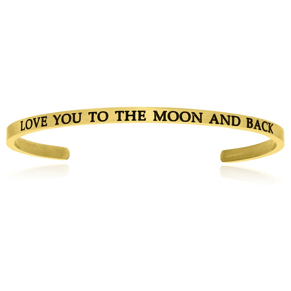 Yellow Stainless Steel Love You To The Moon And Back Cuff Bracelet