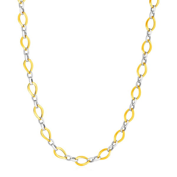 Twisted Oval Chain Necklace in 14k Two Tone Gold