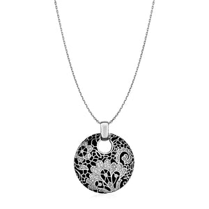 Floral Mosaic Pendant with Enamel and Cubic Zirconia in Sterling Silver