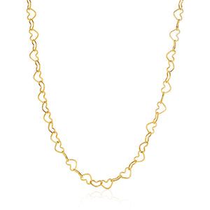 14k Yellow Gold Open Heart Link Necklace