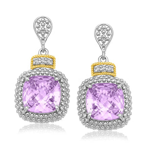 18k Yellow Gold & Sterling Silver Cushion Amethyst & Diamond Earrings (.05cttw)