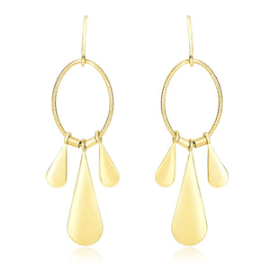 14k Yellow Gold Graduated Teardrop and Open Oval Drop Style Earrings