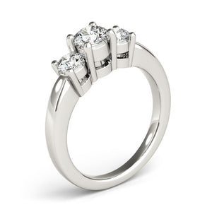 14k White Gold Timeless 3 Stone Round Diamond Engagement Ring (1 cttw)
