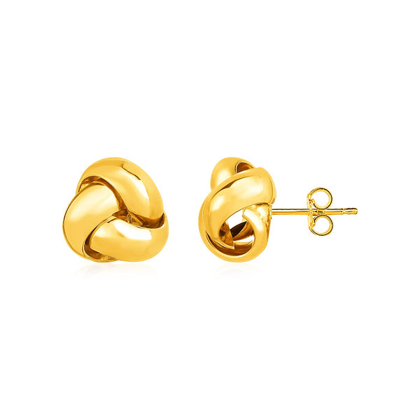 a7eb219a1 Polished Love Knot Post Earrings in 14k Yellow Gold