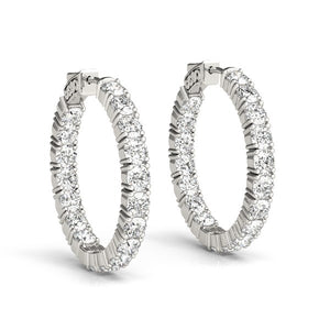 14k White Gold Two Sided Prong Set Diamond Hoop Earrings (3 1/2 cttw)