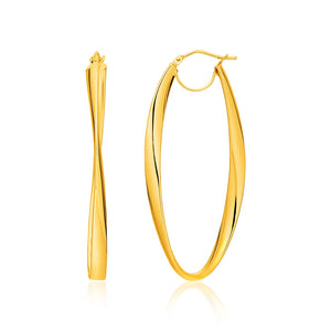 14k Yellow Gold Twist Motif Oval Shape Hoop Earrings