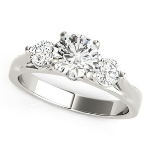 14k White Gold 3 Stone Prong Setting Diamond Engagement Ring (1 3/8 cttw)
