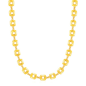 Necklace with Shiny Square Links in 14k Yellow Gold