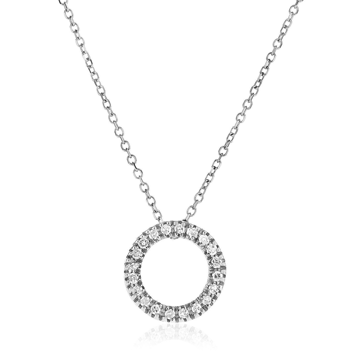 87cdc25ec 14k White Gold Necklace with Gold and Diamond Open Ring Pendant (1/10 cttw)