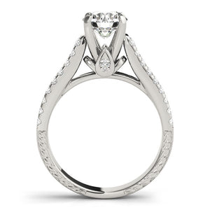 14k White Gold Round Diamond Engagement Ring with Pave Band (2 cttw)