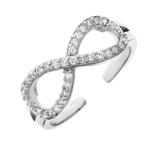 Toe Ring with Infinity Symbol in Sterling Silver with Cubic Zirconia