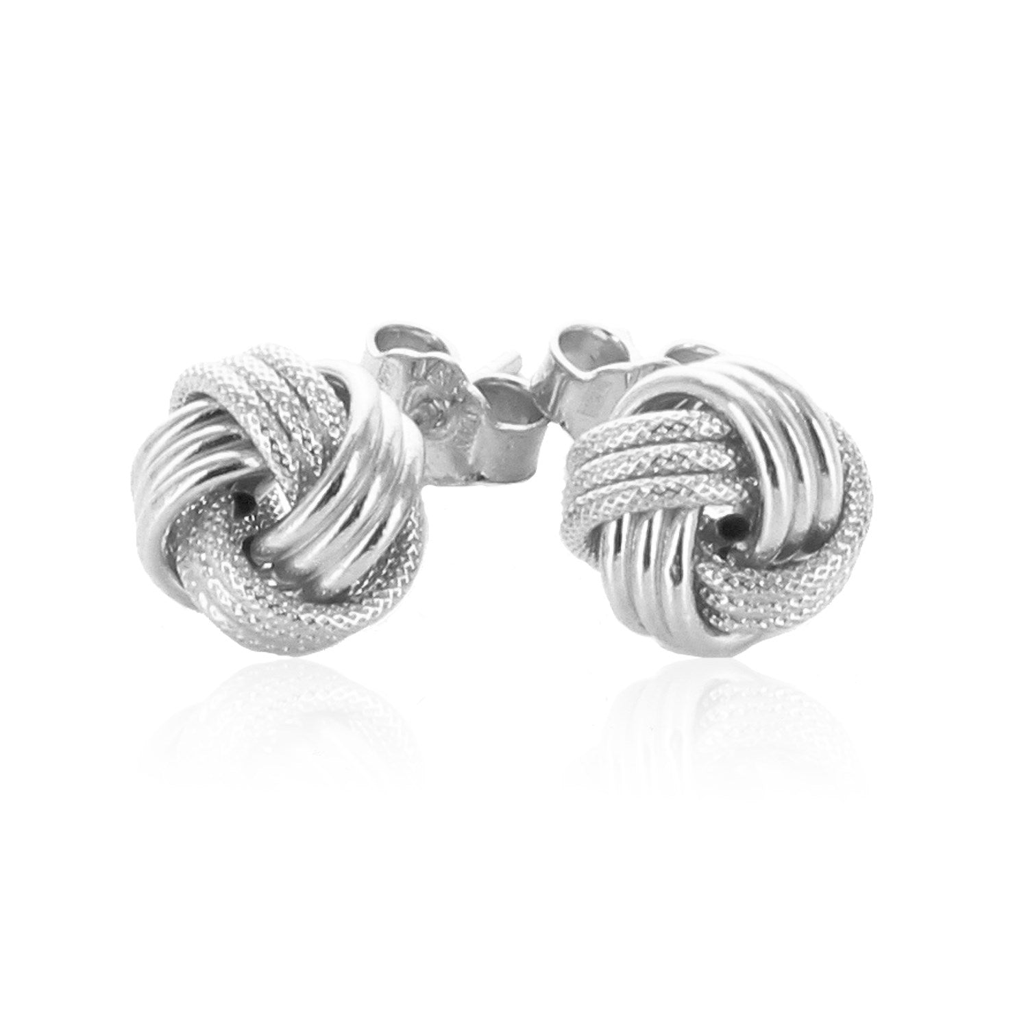 bed6d9d11 14k White Gold Love Knot with Ridge Texture Earrings - Unity BAMN