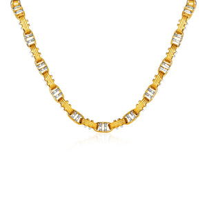 14k Two-Toned Yellow and White Gold Two-Bar Mariner Link Necklace