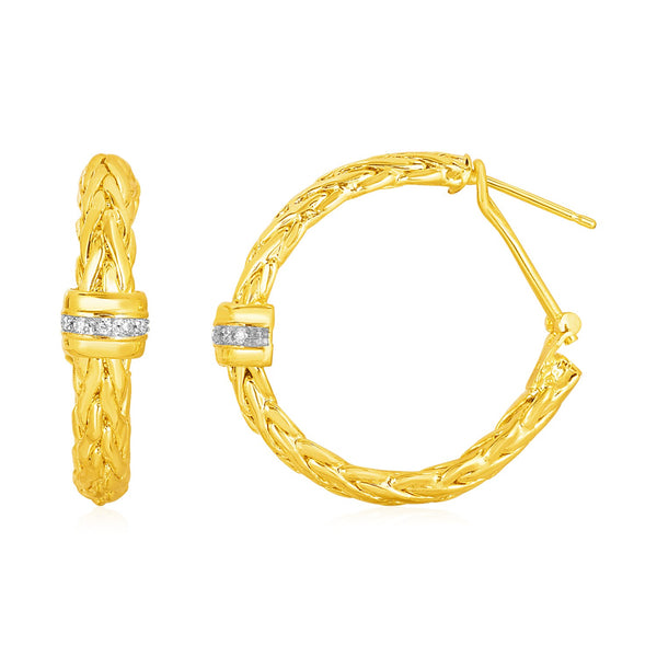Woven Rope Hoop Earrings with Diamond Accents in 14k Yellow Gold