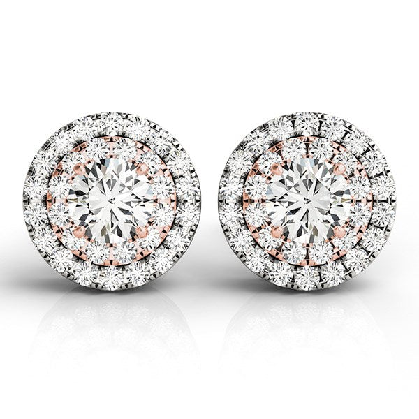 14k White and Rose Gold Round Halo Diamond Earrings (3/4 cttw)
