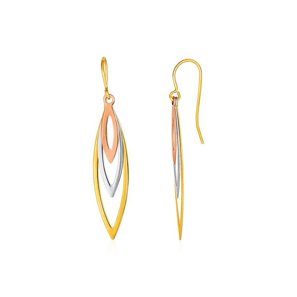 Tri-Tone Graduated Open Marquise Earrings in 10k Yellow,  White,  and Rose Gold