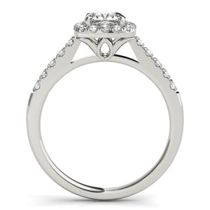 14k White Gold Square Outer Shape Round Diamond Engagement Ring (3/4 cttw)