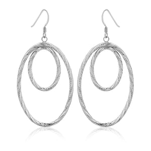 Sterling Silver Textured Dual Open Oval Drop Style Earrings