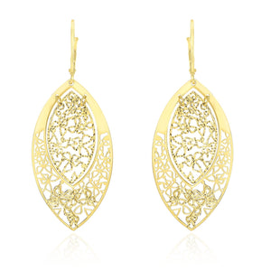 14k Yellow Gold Butterfly Filigree Design Marquis Earrings